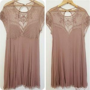 Large Wishlist Mauve embroidered dress tunic top